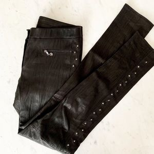 Marc-Cain Black Leather Side Studded Pants Size 8